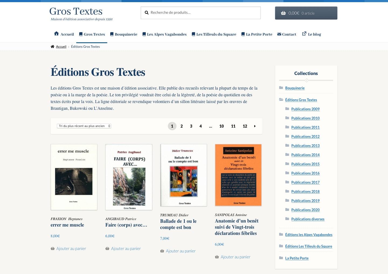 Page d'accueil du site des Éditions Gros Textes
