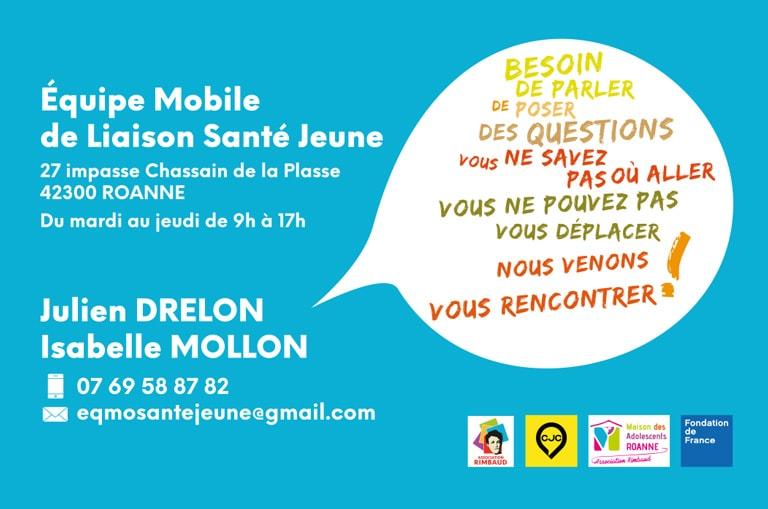 Carte de visite pour l'Équipe Mobile de Liaison Santé Jeune - Verso