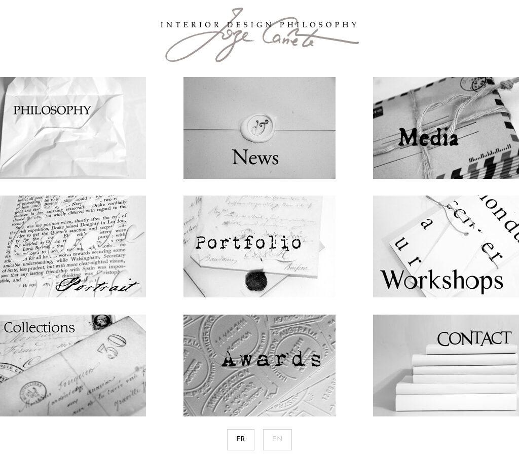 Page d'accueil du site de l'agence Interior Design Philosophy