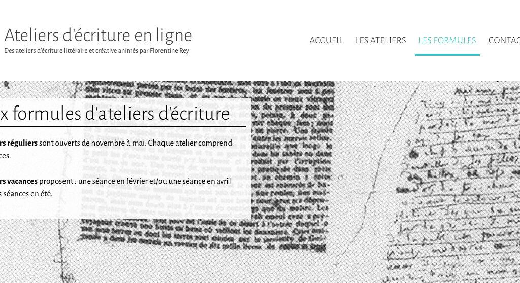 Page sur les Thématiques des Ateliers d'écriture en ligne de Florentine Rey - Détail 01