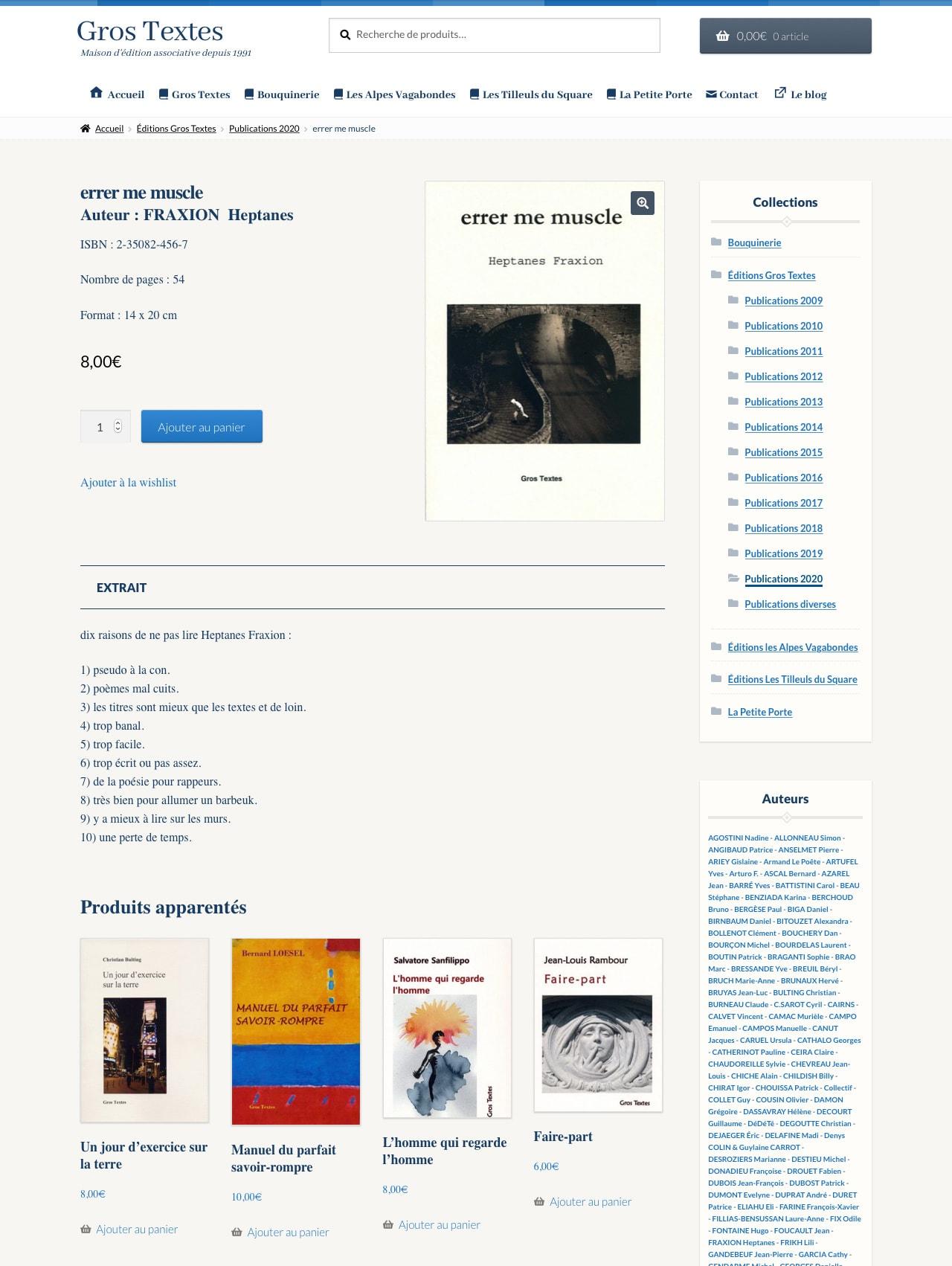 """Page du livre """"errer me muscle"""" du site des Éditions Gros Textes"""