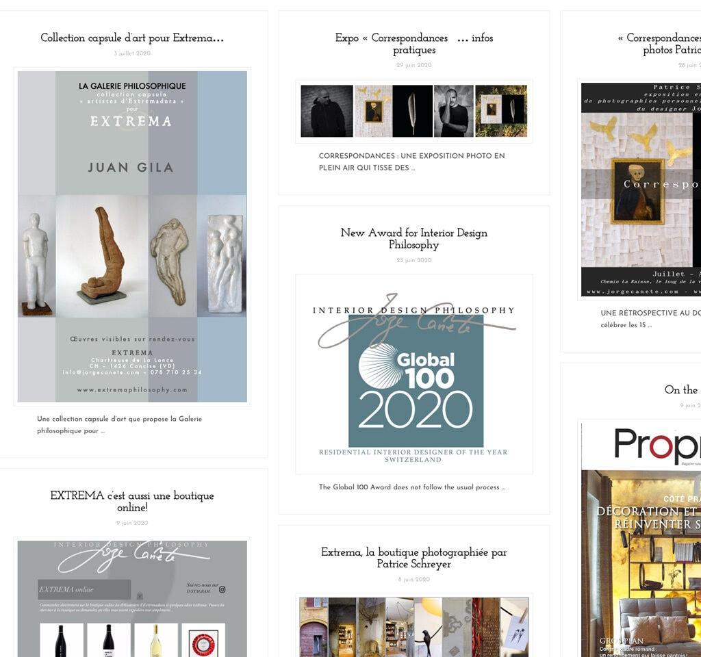 Page des actualités du site de l'agence Interior Design Philosophy