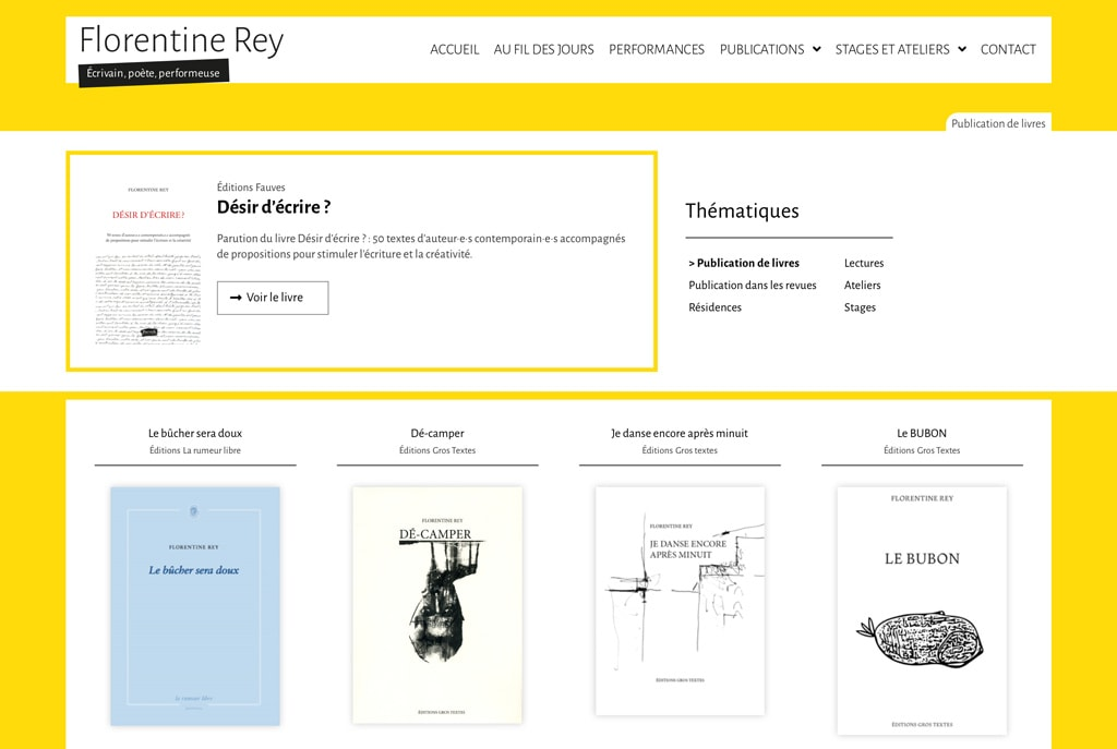 """Page des """"Publications de livres"""" de Florentine Rey - Vue détail 1"""