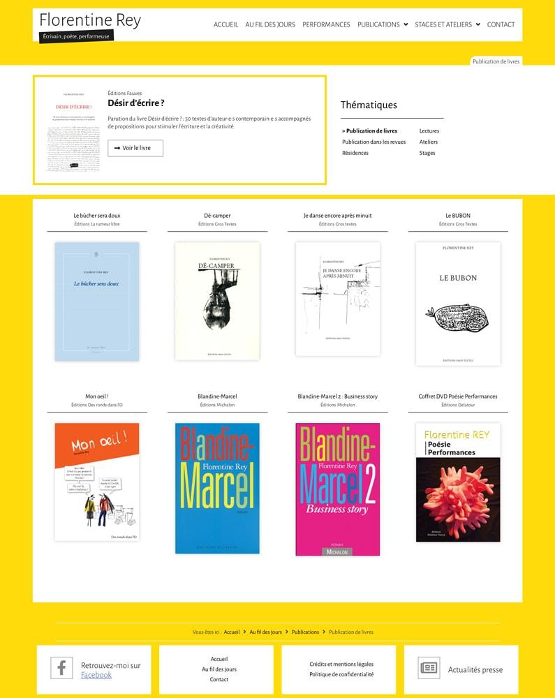 """Page des """"Publications de livres"""" de Florentine Rey - Vue d'ensemble"""