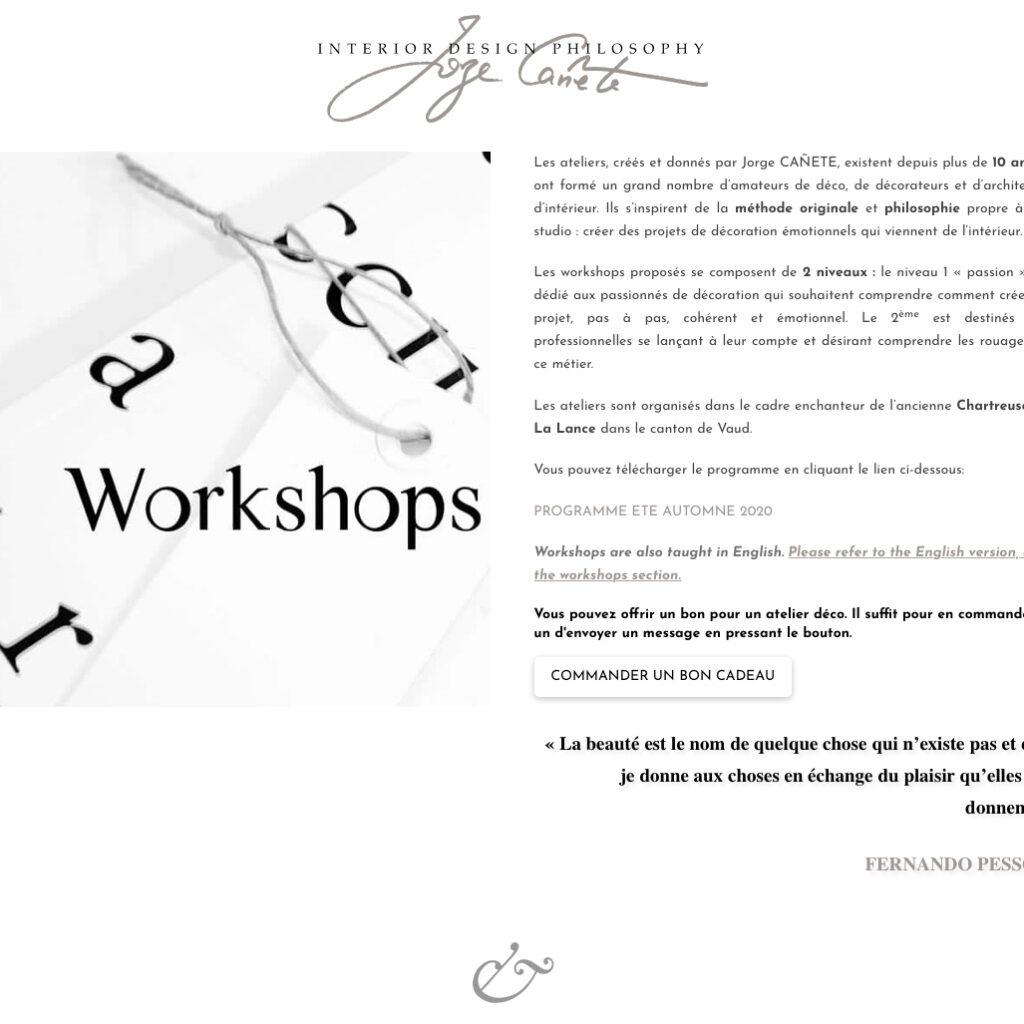Page des Workshops du site de l'agence Interior Design Philosophy