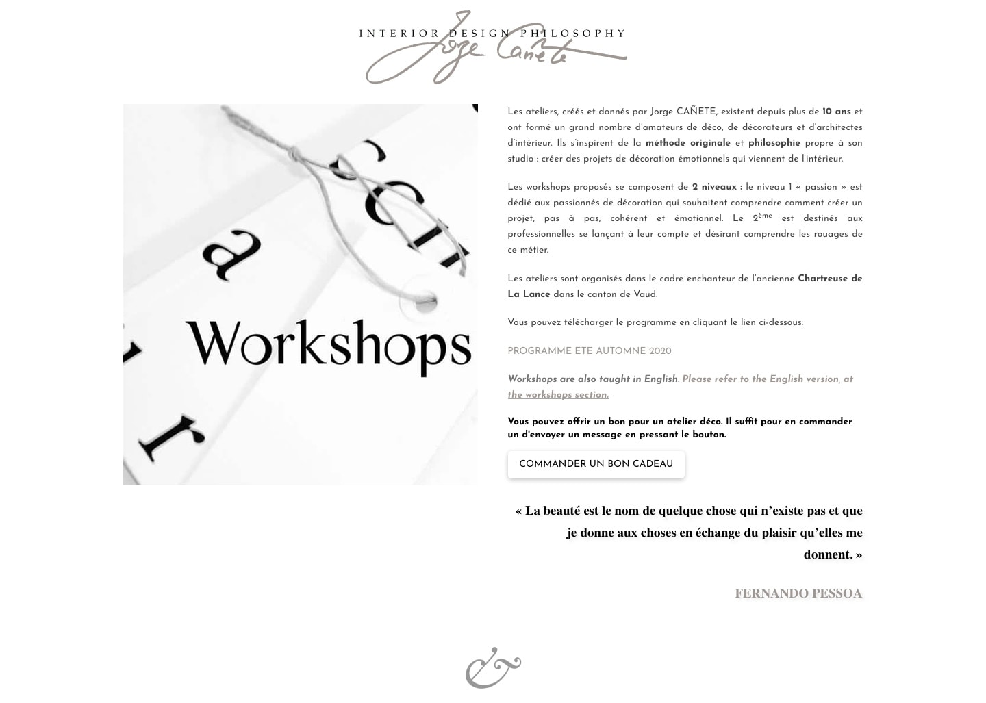 Page des Workshops du site de l'agence Interior Design Philosophy
