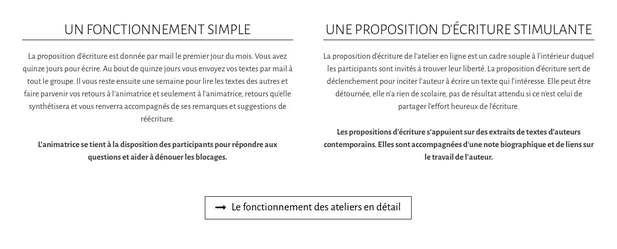 Page sd'Accueil des Ateliers d'écriture en ligne de Florentine Rey - Détail 03