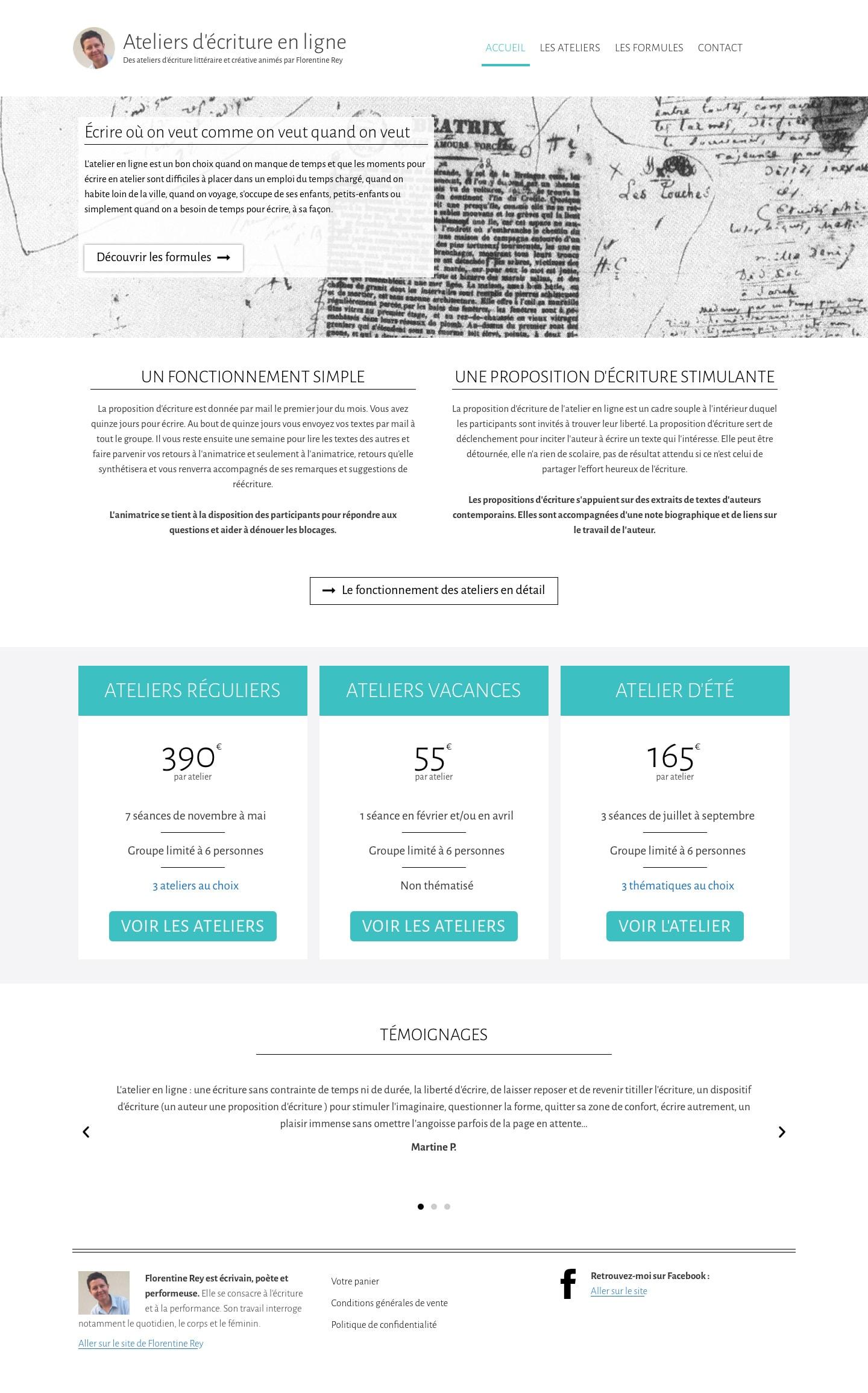Page sd'Accueil des Ateliers d'écriture en ligne de Florentine Rey
