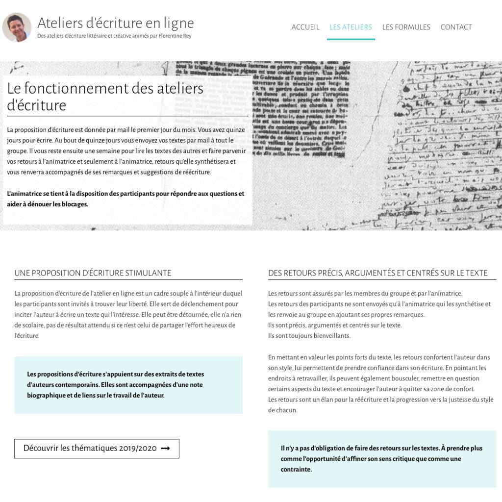 Page sur le Fonctionnement des Ateliers d'écriture en ligne de Florentine Rey - Détail