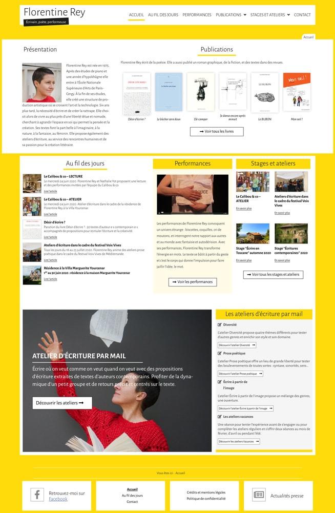 Page d'accueil du site de Florentine Rey - Vue d'ensemble