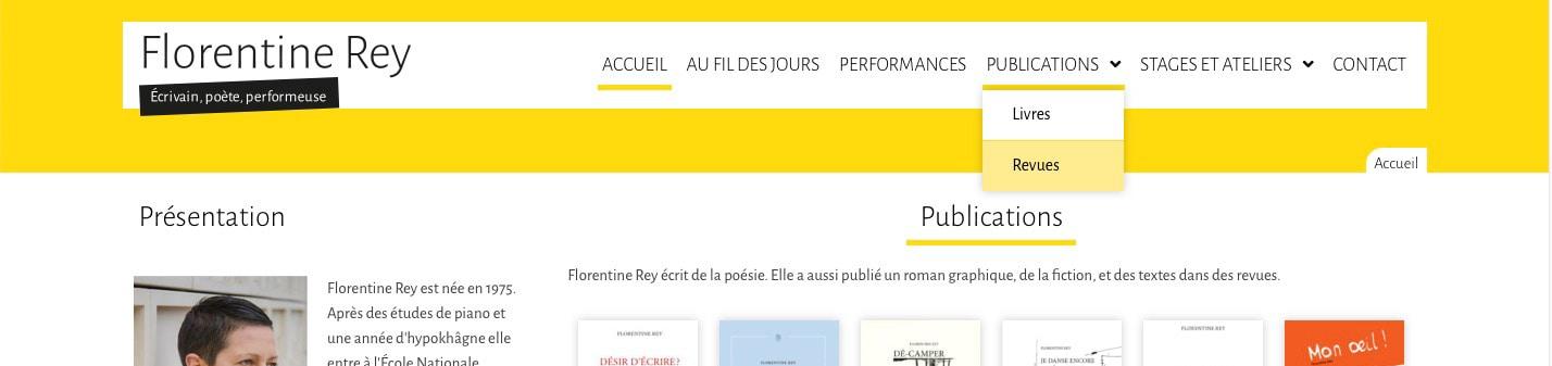 Page d'accueil du site de Florentine Rey - Vue détail 1