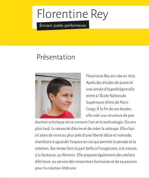 Page d'accueil du site de Florentine Rey - Vue détail 2