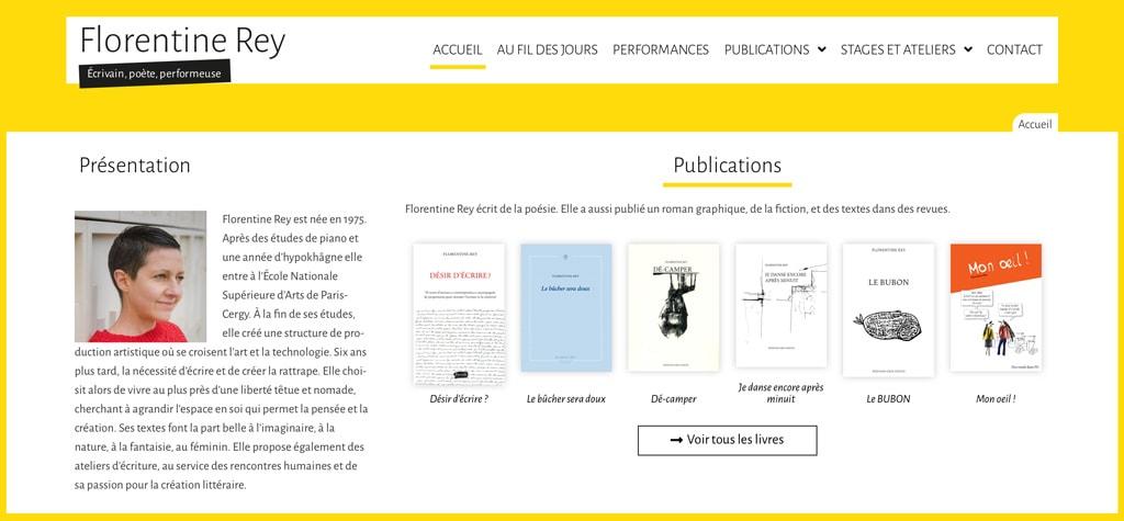 Page d'accueil du site de Florentine Rey - Vue détail 3