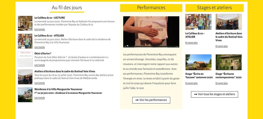 Page d'accueil du site de Florentine Rey - Vue détail 4