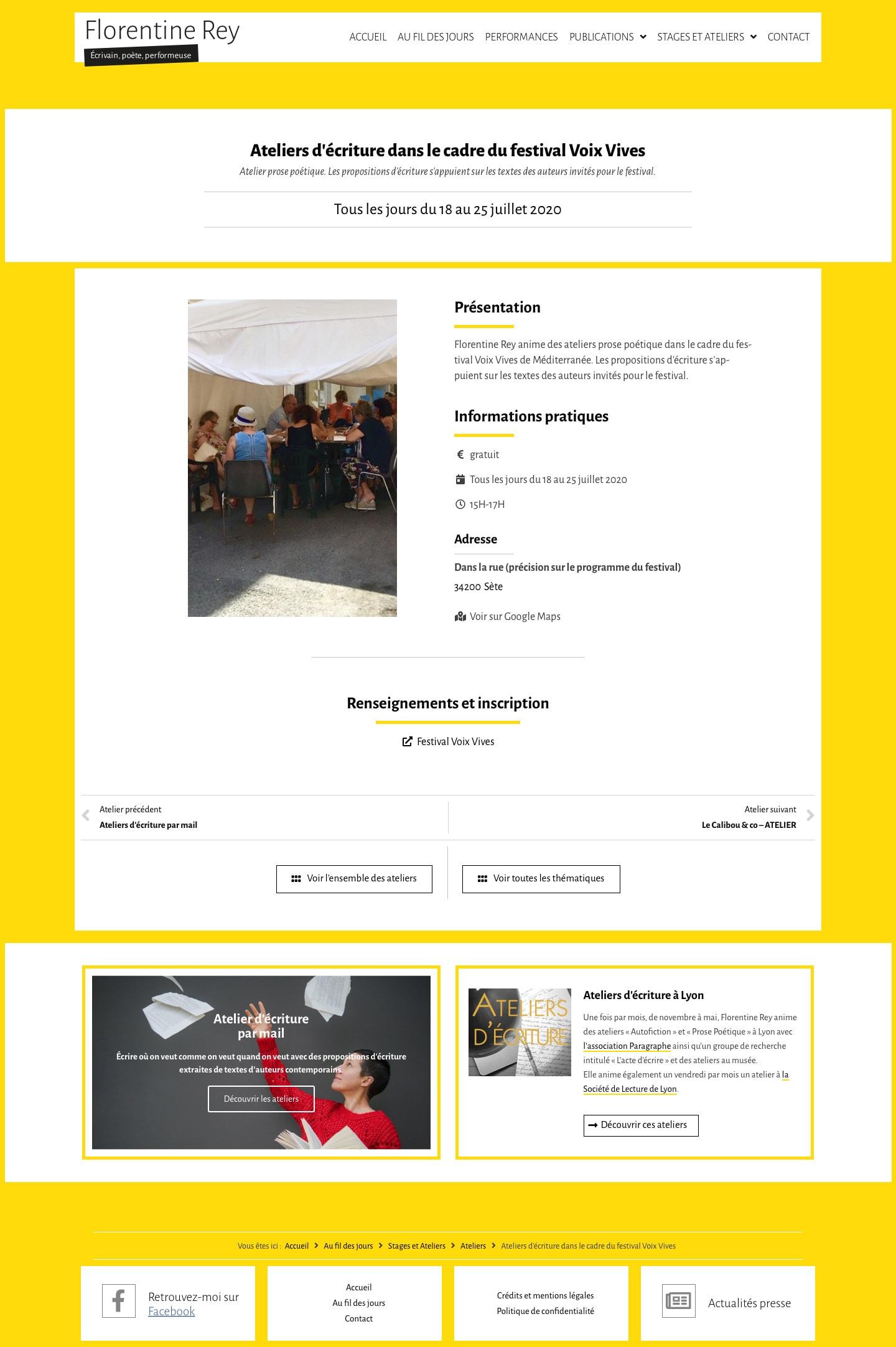 """Page """"Ateliers d'écriture dans le cadre du festival Voix Vives"""" de Florentine Rey"""