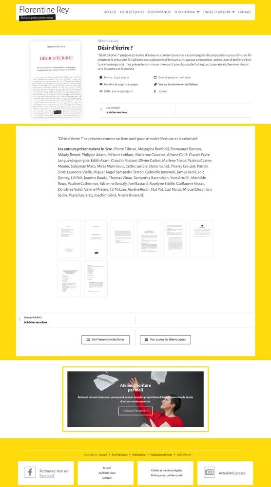 """Page du livre """"Désir d'écrire ?"""" de Florentine Rey - Vue d'ensemble"""