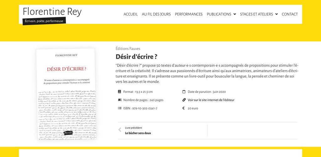"""Page du livre """"Désir d'écrire ?"""" de Florentine Rey - Vue détail 1"""