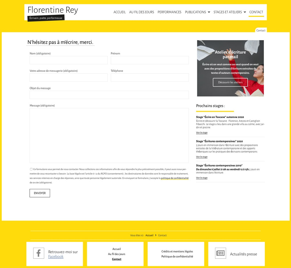 "Page ""Contact"" de Florentine Rey"