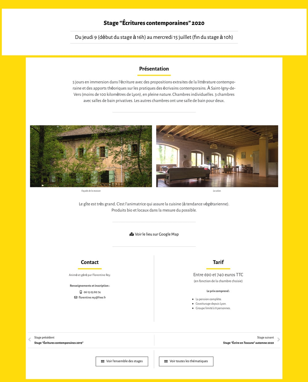 """Page """"Stage d'écritures contemporaines 2020"""" de Florentine Rey - Vue détail"""