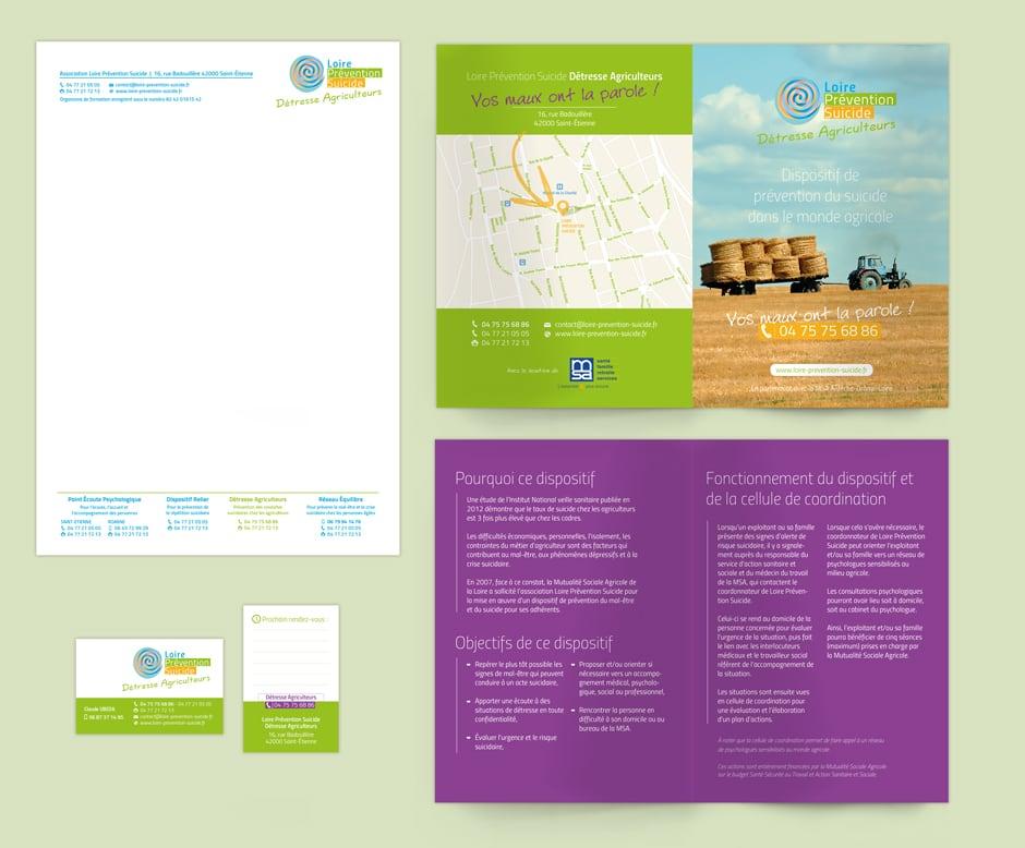 Identité graphique de Détresse Agriculteurs pour l'association Loire Prévention Suicide située à Saint-Étienne.