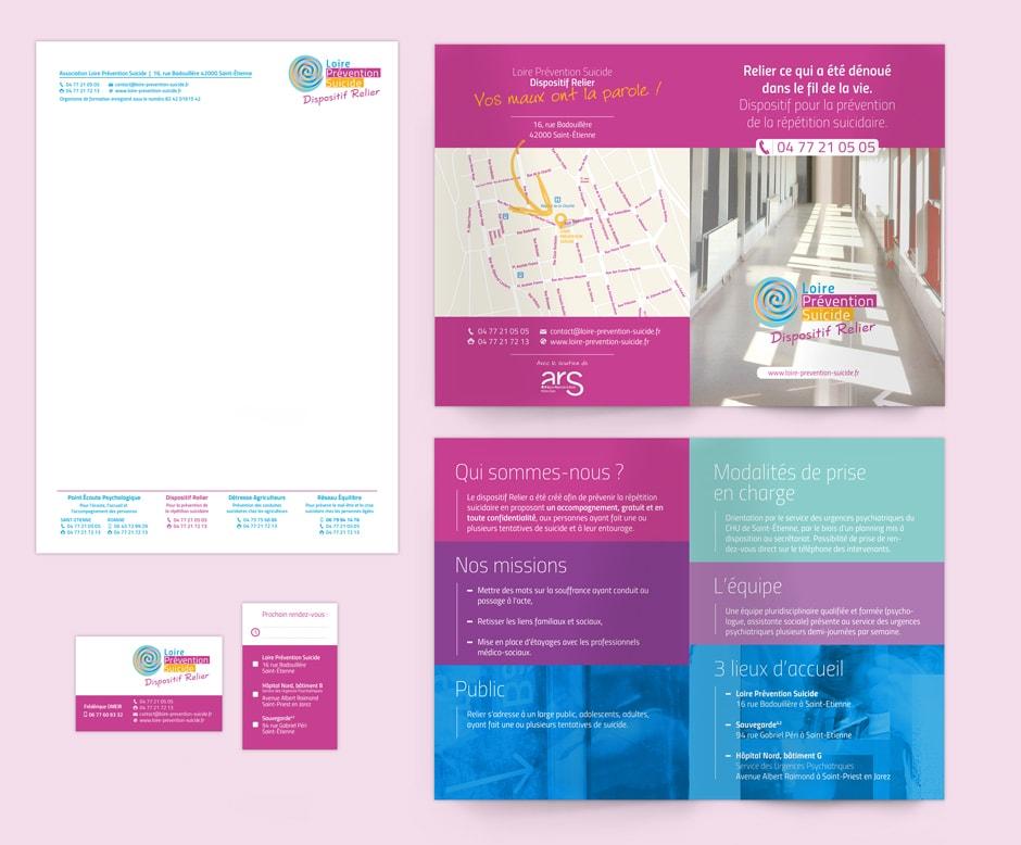 Identité graphique du Dispositif Relier pour l'association Loire Prévention Suicide située à Saint-Étienne.