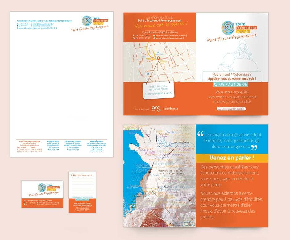 Identité graphique du Point Écoute Psychologique pour l'association Loire Prévention Suicide située à Saint-Étienne.
