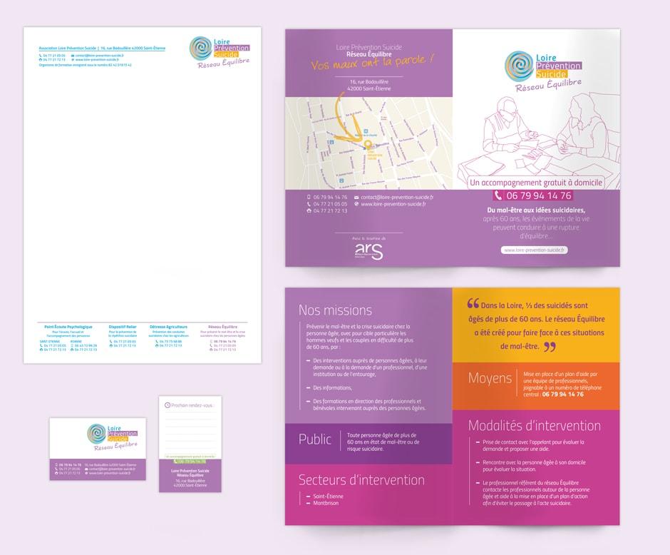 Identité graphique du Réseau Équilibre pour l'association Loire Prévention Suicide située à Saint-Étienne.