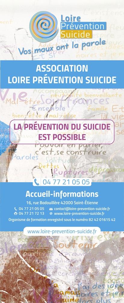 Rollup recto pour l'association Loire Prévention Suicide située à Saint-Étienne.