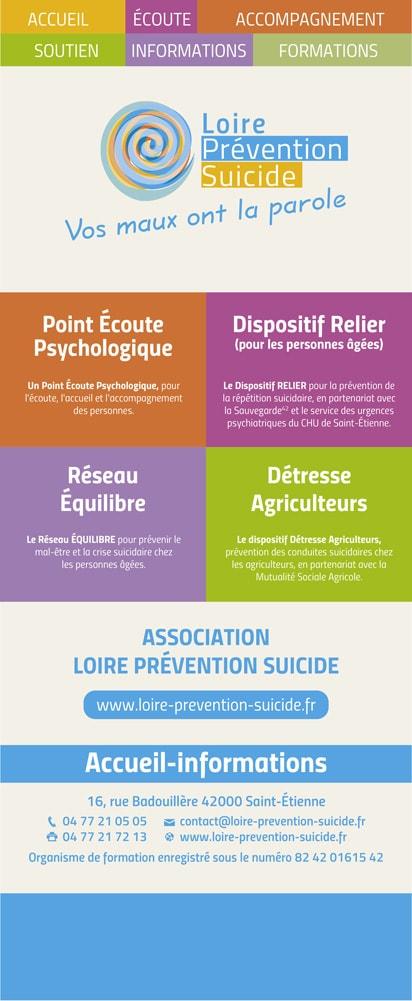 Rollup verso pour l'association Loire Prévention Suicide située à Saint-Étienne.
